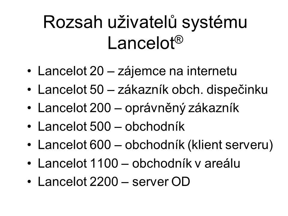 Rozsah uživatelů systému Lancelot ® Lancelot 20 – zájemce na internetu Lancelot 50 – zákazník obch.