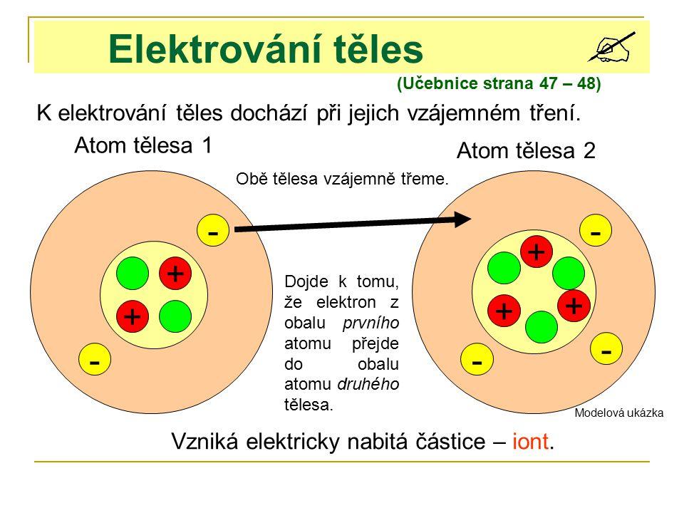 Elektrování těles K elektrování těles dochází při jejich vzájemném tření. + + - + + - - Atom tělesa 1 Atom tělesa 2 Obě tělesa vzájemně třeme. Dojde k