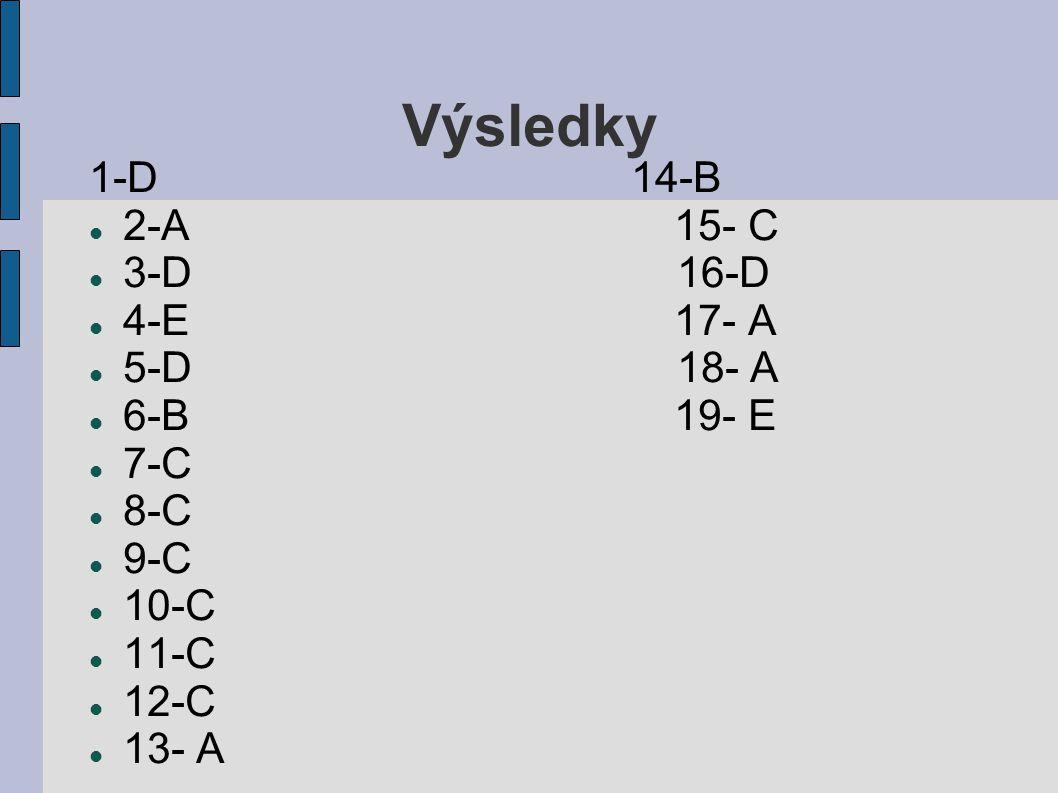 Výsledky 1-D 14-B 2-A 15- C 3-D 16-D 4-E 17- A 5-D 18- A 6-B 19- E 7-C 8-C 9-C 10-C 11-C 12-C 13- A