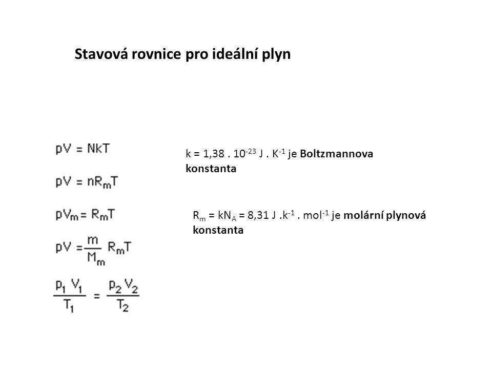 k = 1,38. 10 -23 J. K -1 je Boltzmannova konstanta R m = kN A = 8,31 J.k -1. mol -1 je molární plynová konstanta Stavová rovnice pro ideální plyn