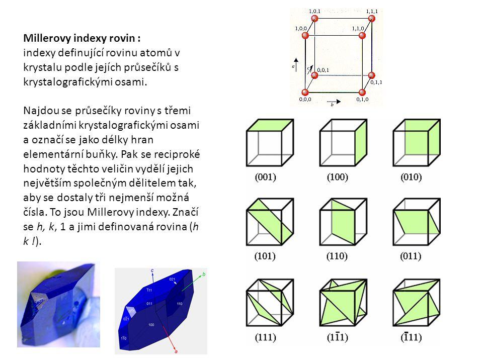 Millerovy indexy rovin : indexy definující rovinu atomů v krystalu podle jejích průsečíků s krystalografickými osami. Najdou se průsečíky roviny s tře