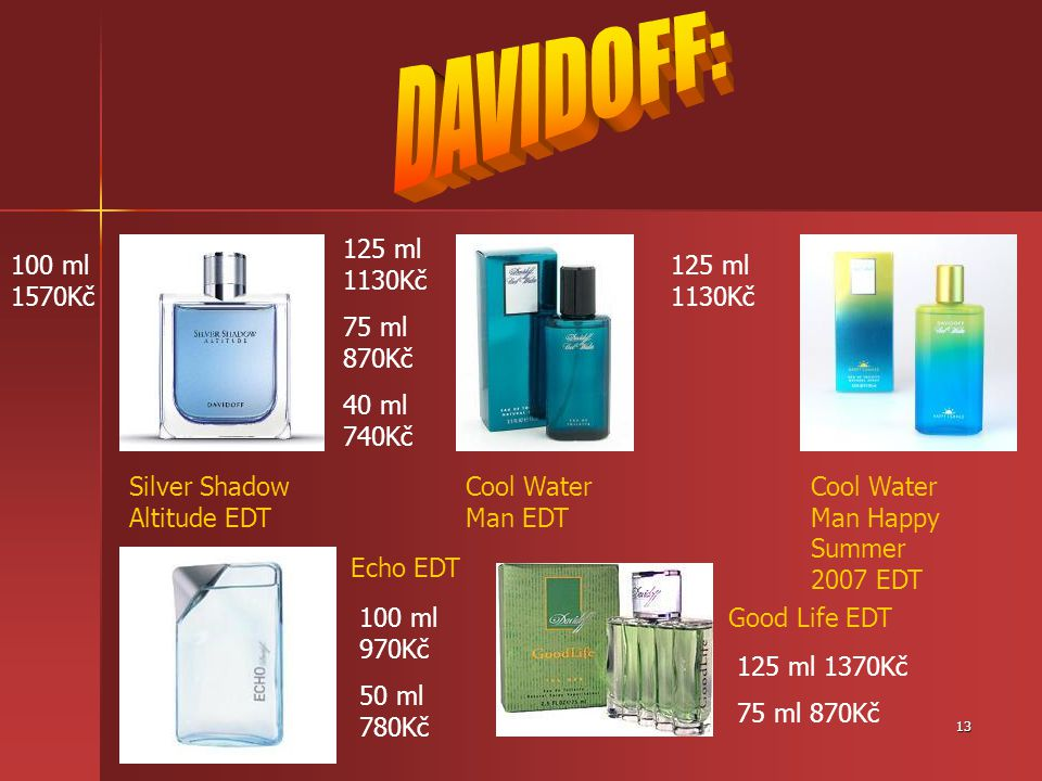 13 Silver Shadow Altitude EDT Cool Water Man EDT Cool Water Man Happy Summer 2007 EDT Echo EDT Good Life EDT100 ml 970Kč 50 ml 780Kč 125 ml 1370Kč 75 ml 870Kč 100 ml 1570Kč 125 ml 1130Kč 75 ml 870Kč 40 ml 740Kč 125 ml 1130Kč