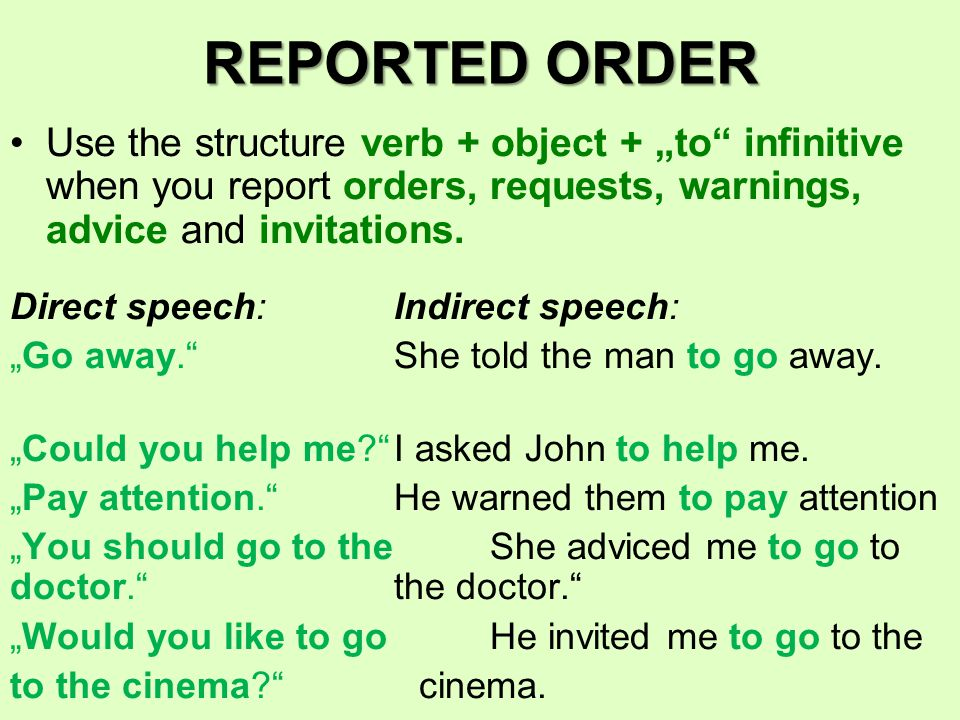 """Use the structure verb + """"to infinitive when you report offers, promises and threads."""