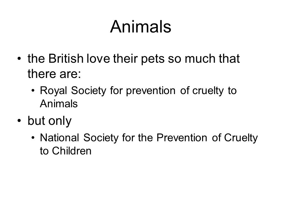 Animals the British love their pets so much that there are: Royal Society for prevention of cruelty to Animals but only National Society for the Preve