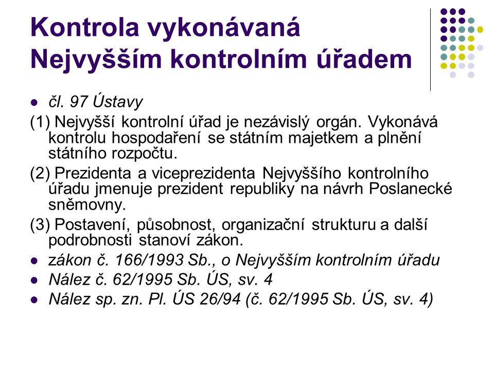 Kontrola vykonávaná Nejvyšším kontrolním úřadem čl.