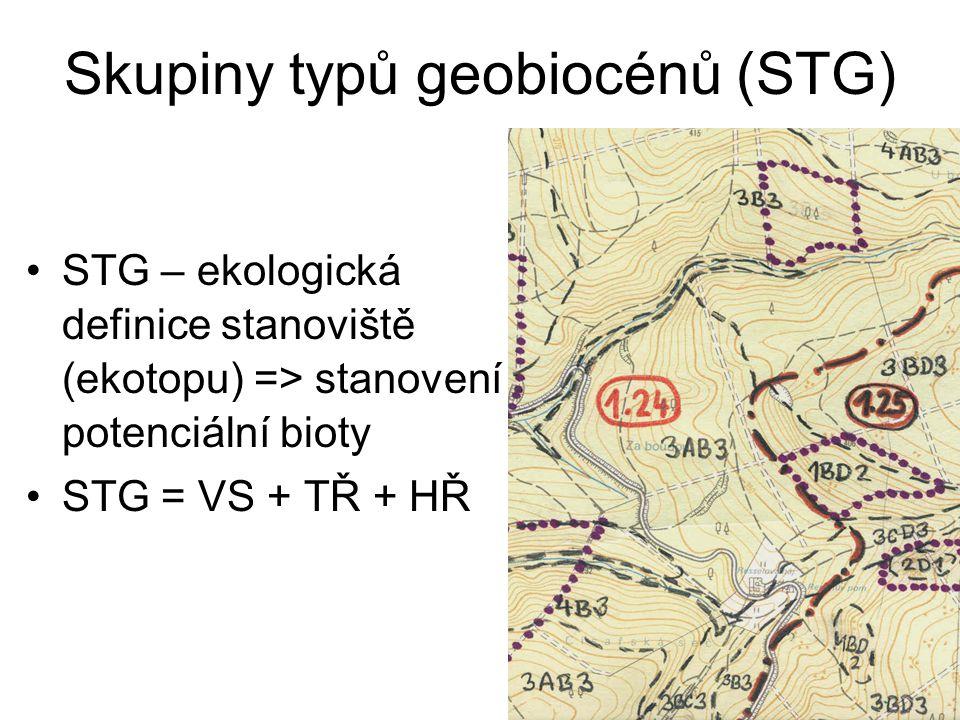 Skupiny typů geobiocénů (STG) STG – ekologická definice stanoviště (ekotopu) => stanovení potenciální bioty STG = VS + TŘ + HŘ