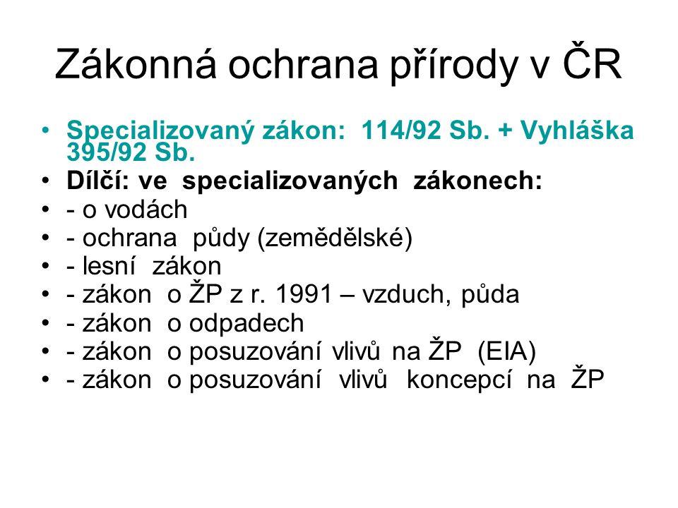 Zákonná ochrana přírody v ČR Specializovaný zákon: 114/92 Sb. + Vyhláška 395/92 Sb. Dílčí: ve specializovaných zákonech: - o vodách - ochrana půdy (ze