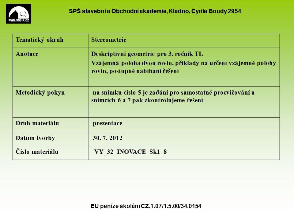 SPŠ stavební a Obchodní akademie, Kladno, Cyrila Boudy 2954 EU peníze školám CZ.1.07/1.5.00/34.0154 Vzájemná poloha tří rovin obecná poloha mají společný právě jeden bod svazek rovin  Všechny tři jsou rovnoběžné s toutéž přímkou a)b)c) d) e)