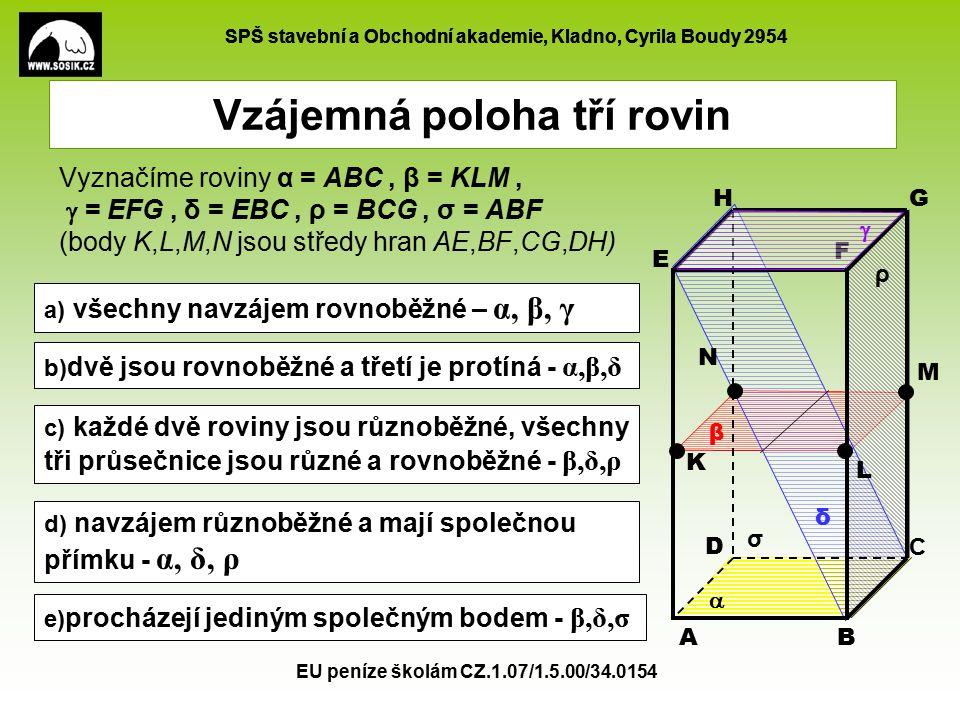 SPŠ stavební a Obchodní akademie, Kladno, Cyrila Boudy 2954 EU peníze školám CZ.1.07/1.5.00/34.0154 Vzájemná poloha tří rovin - procvičování Určete vzájemnou polohu rovin: A B C D K L M čtyřstěn ABCD, KLM středy hran 1.ABD, KLM, BCD 2.ABC, BKM, ACD 3.ABC, ABD, ABM 4.ABC, KLM, BCD