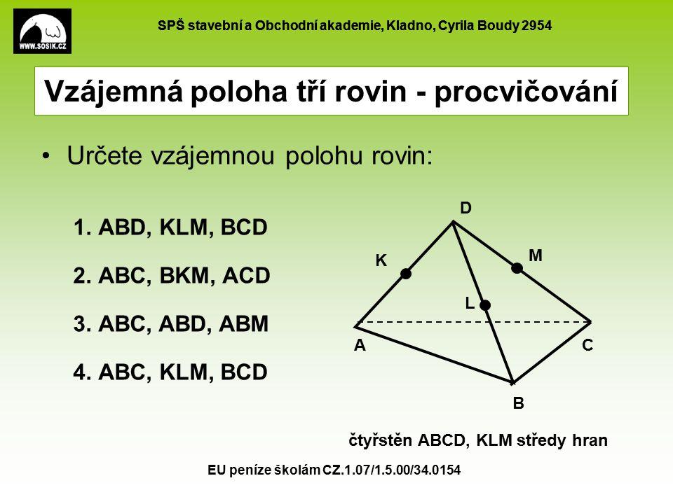 SPŠ stavební a Obchodní akademie, Kladno, Cyrila Boudy 2954 EU peníze školám CZ.1.07/1.5.00/34.0154 e) procházejí jediným společným bodem c) každé dvě roviny jsou různoběžné, všechny tři průsečnice jsou různé a rovnoběžné Vzájemná poloha tří rovin - řešení