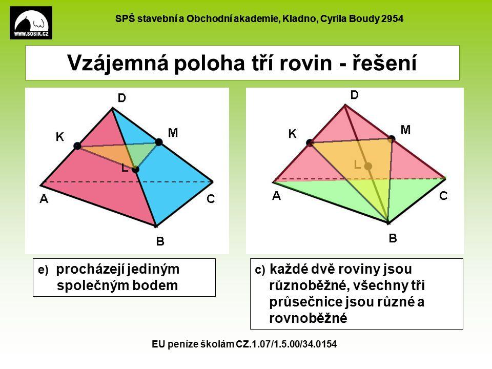 SPŠ stavební a Obchodní akademie, Kladno, Cyrila Boudy 2954 EU peníze školám CZ.1.07/1.5.00/34.0154 Vzájemná poloha tří rovin - řešení d) navzájem různoběžné a mají společnou přímku b) dvě jsou rovnoběžné a třetí je protíná