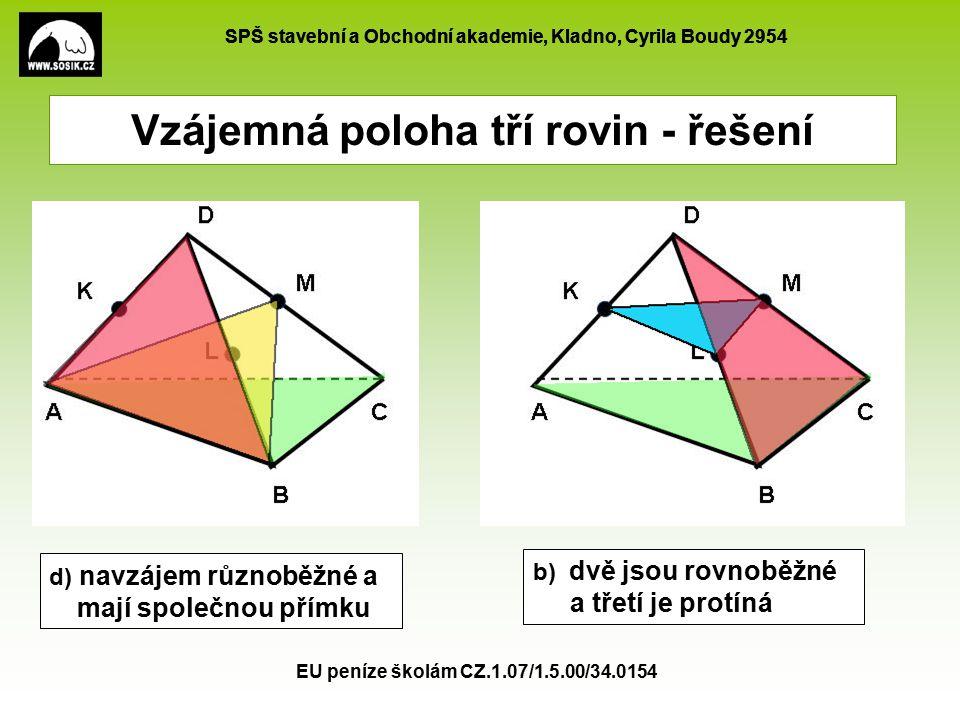 SPŠ stavební a Obchodní akademie, Kladno, Cyrila Boudy 2954 EU peníze školám CZ.1.07/1.5.00/34.0154 Vzájemná poloha tří rovin - řešení d) navzájem růz