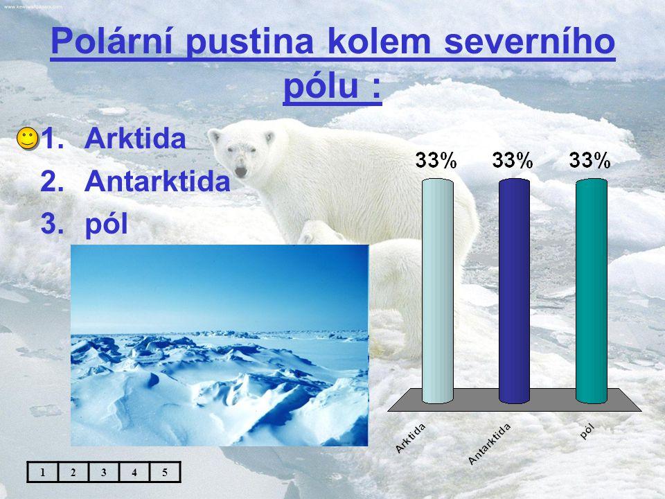 Polární pustina kolem jižního pólu : 1.Arktida 2.Antarktida 3.pól 12345