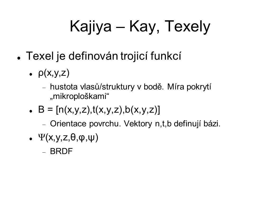 "Kajiya – Kay, Texely Texel je definován trojicí funkcí ρ(x,y,z)  hustota vlasů/struktury v bodě. Míra pokrytí ""mikroploškami"" B = [n(x,y,z),t(x,y,z),"