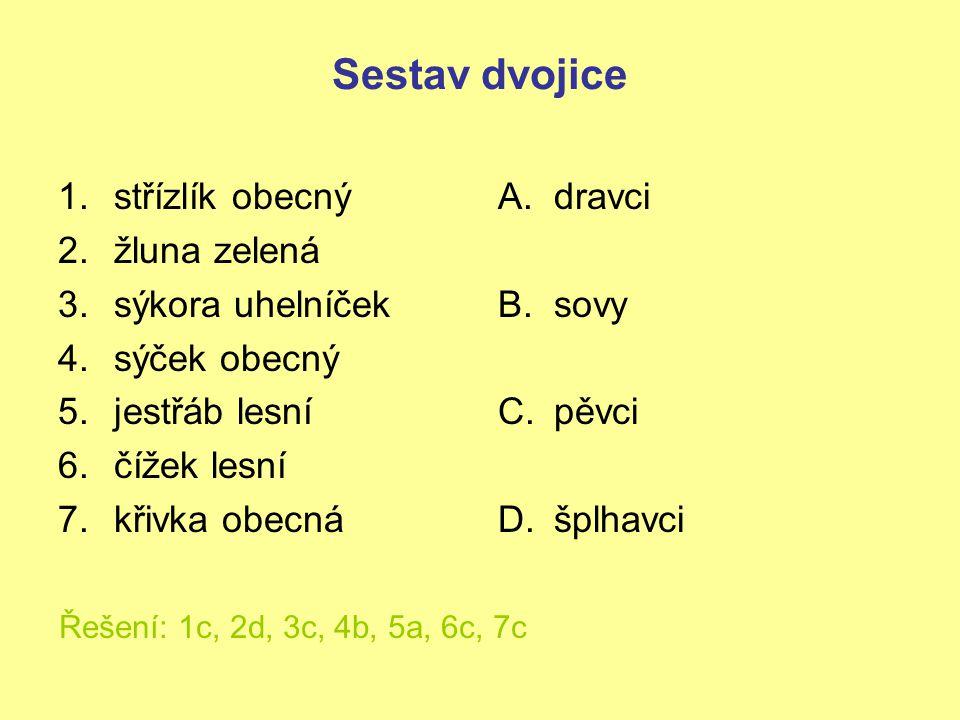 Sestav dvojice 1.střízlík obecný 2.žluna zelená 3.sýkora uhelníček 4.sýček obecný 5.jestřáb lesní 6.čížek lesní 7.křivka obecná A.dravci B.sovy C.pěvc