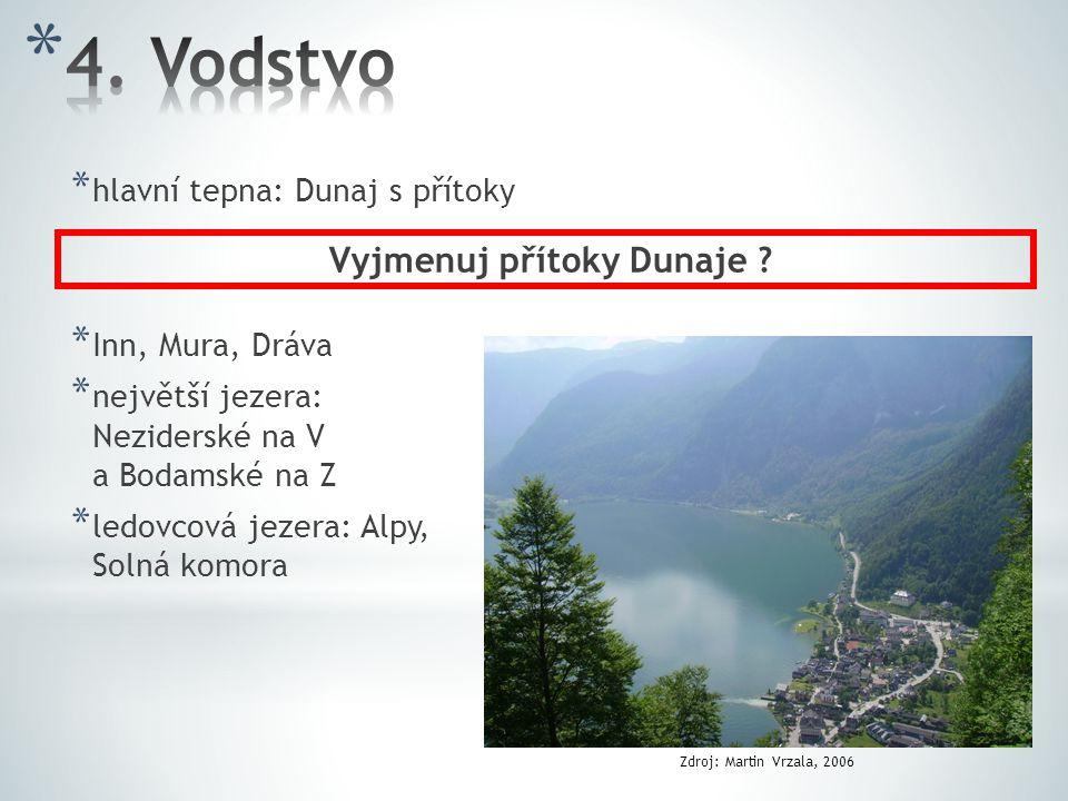 * hlavní tepna: Dunaj s přítoky * Inn, Mura, Dráva * největší jezera: Neziderské na V a Bodamské na Z * ledovcová jezera: Alpy, Solná komora Vyjmenuj přítoky Dunaje .