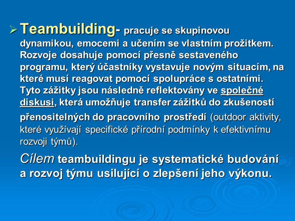 Průběh teambuildingového programu  Instrukce - tato část teambuildingu zahrnuje představení programu účastníkům a předání instrukcí pro jednotlivé aktivity.