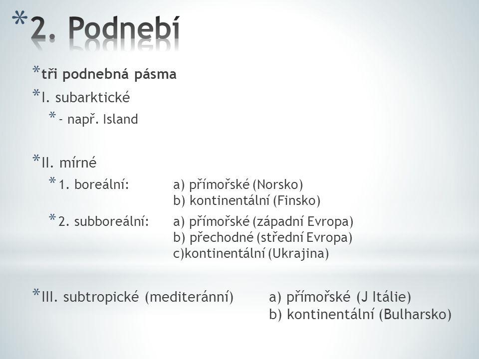 * tři podnebná pásma * I.subarktické * - např. Island * II.
