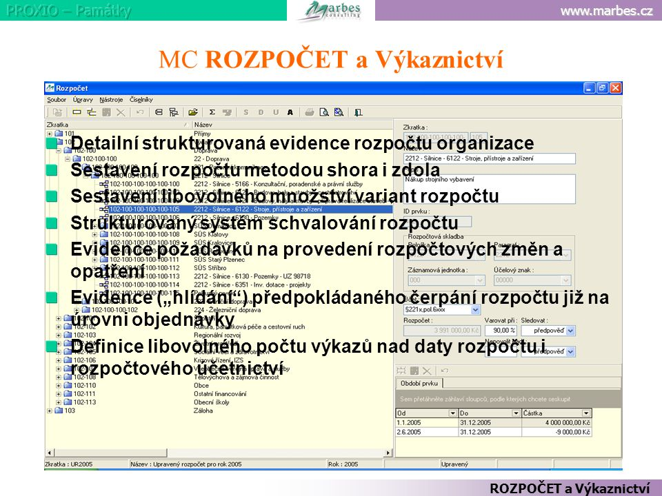 www.marbes.cz MC ROZPOČET a Výkaznictví Detailní strukturovaná evidence rozpočtu organizace Sestavení rozpočtu metodou shora i zdola Sestavení libovol