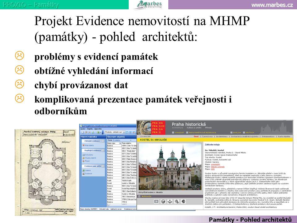 www.marbes.cz Památky - Pohled architektů Projekt Evidence nemovitostí na MHMP (památky) - pohled architektů:  problémy s evidencí památek  obtížné