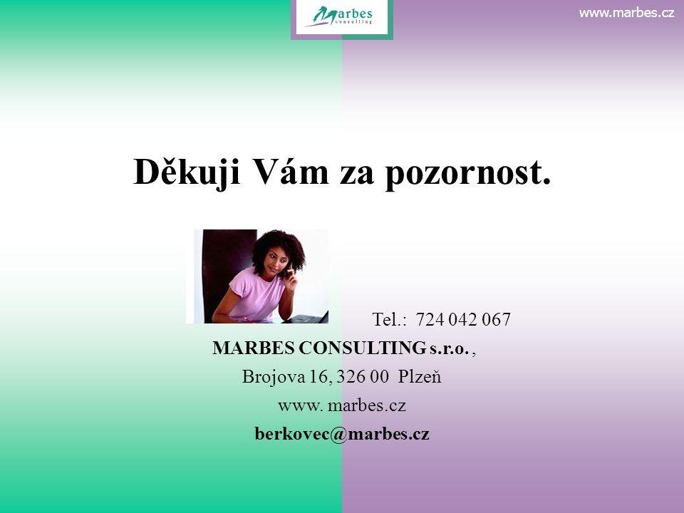 www.marbes.cz Děkuji Vám za pozornost. www.marbes.cz Tel.: 724 042 067 MARBES CONSULTING s.r.o., Brojova 16, 326 00 Plzeň www. marbes.cz berkovec@marb