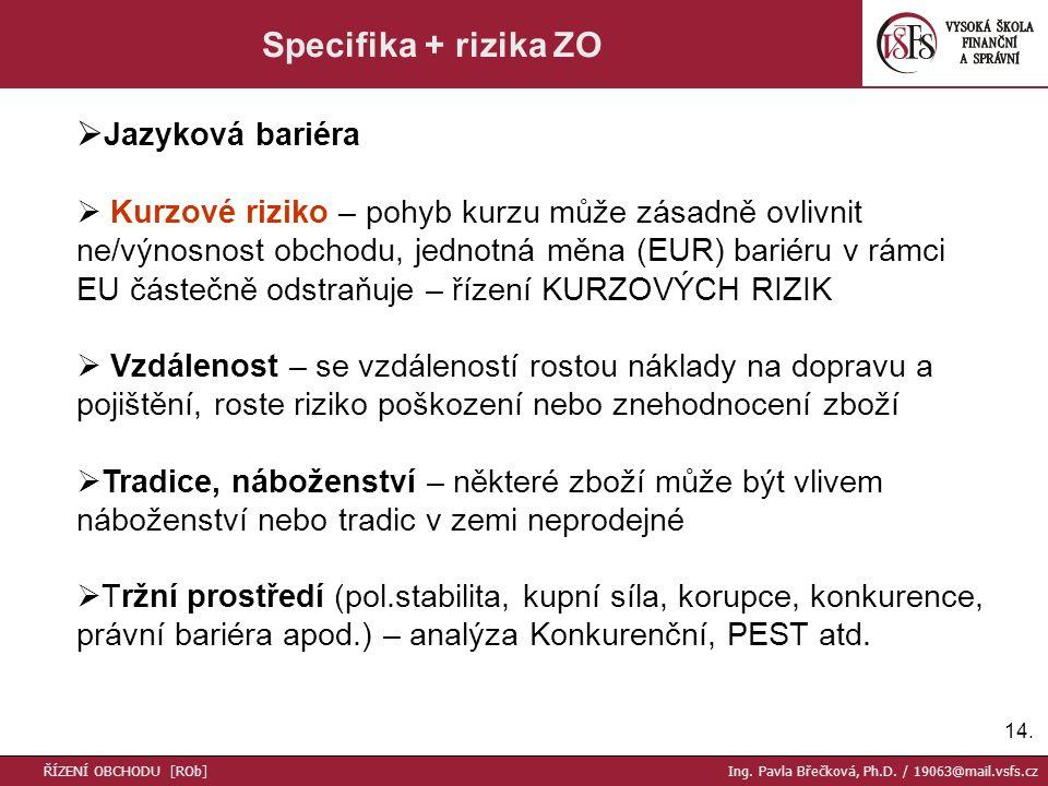 14. Specifika + rizika ZO  Jazyková bariéra  Kurzové riziko – pohyb kurzu může zásadně ovlivnit ne/výnosnost obchodu, jednotná měna (EUR) bariéru v