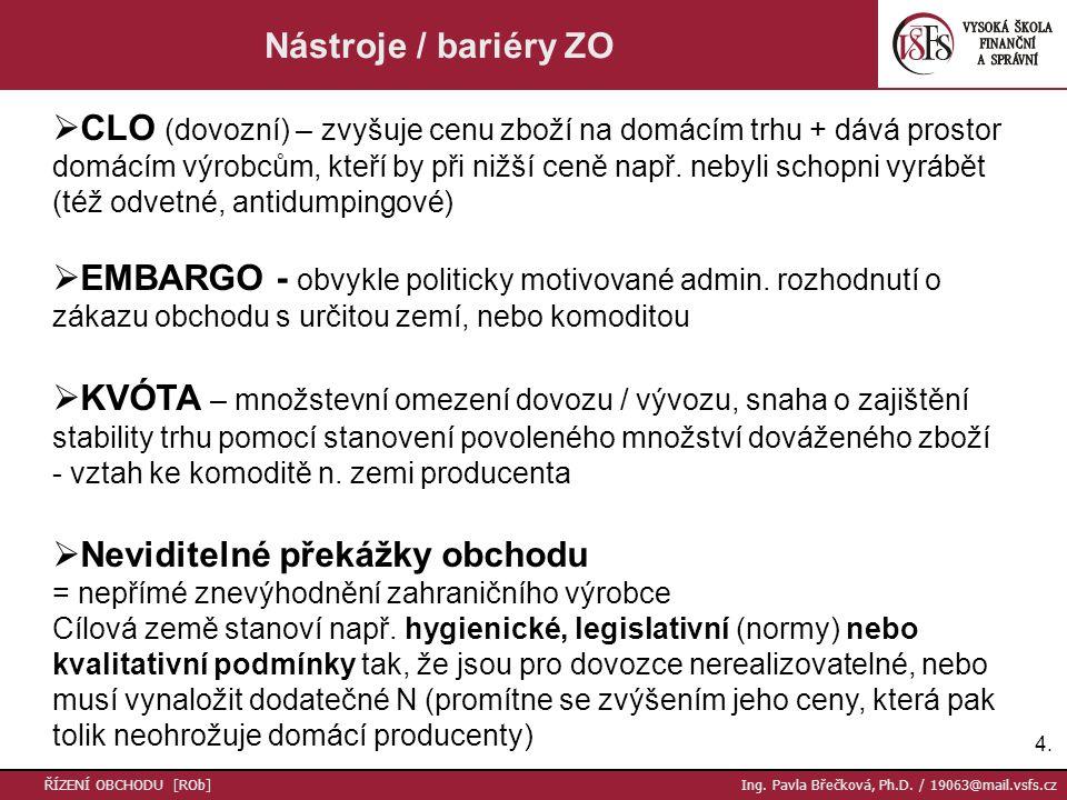4.4. ŘÍZENÍ OBCHODU [ROb] Ing. Pavla Břečková, Ph.D. / 19063@mail.vsfs.cz Nástroje / bariéry ZO  CLO (dovozní) – zvyšuje cenu zboží na domácím trhu +
