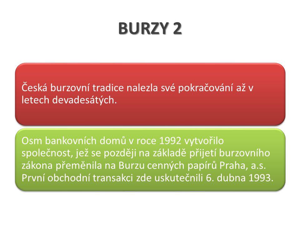 BURZY 2 Česká burzovní tradice nalezla své pokračování až v letech devadesátých.