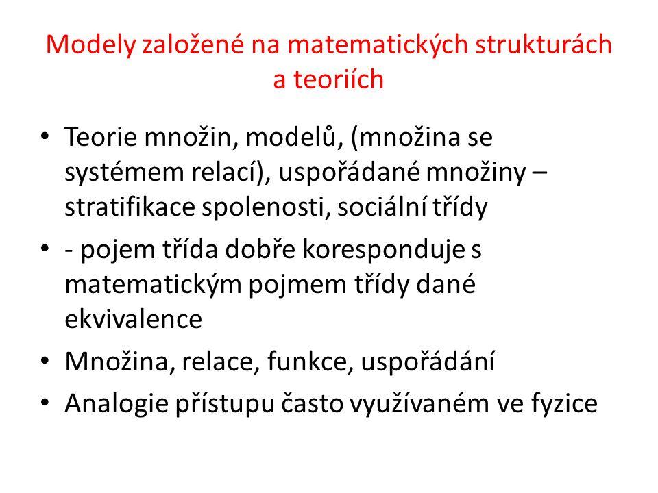 Modely založené na matematických strukturách a teoriích Teorie množin, modelů, (množina se systémem relací), uspořádané množiny – stratifikace spolenosti, sociální třídy - pojem třída dobře koresponduje s matematickým pojmem třídy dané ekvivalence Množina, relace, funkce, uspořádání Analogie přístupu často využívaném ve fyzice