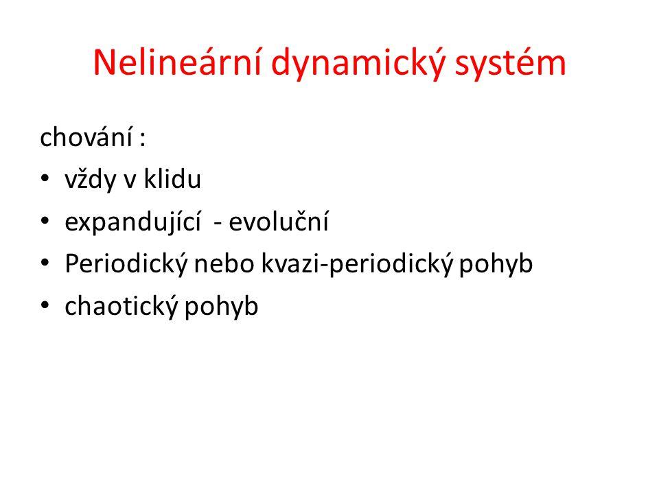 Nelineární dynamický systém chování : vždy v klidu expandující - evoluční Periodický nebo kvazi-periodický pohyb chaotický pohyb