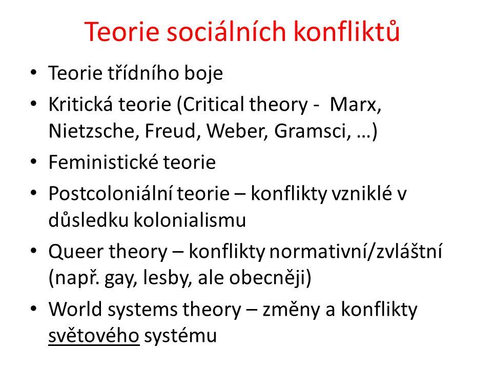 Teorie sociálních konfliktů Teorie třídního boje Kritická teorie (Critical theory - Marx, Nietzsche, Freud, Weber, Gramsci, …) Feministické teorie Postcoloniální teorie – konflikty vzniklé v důsledku kolonialismu Queer theory – konflikty normativní/zvláštní (např.