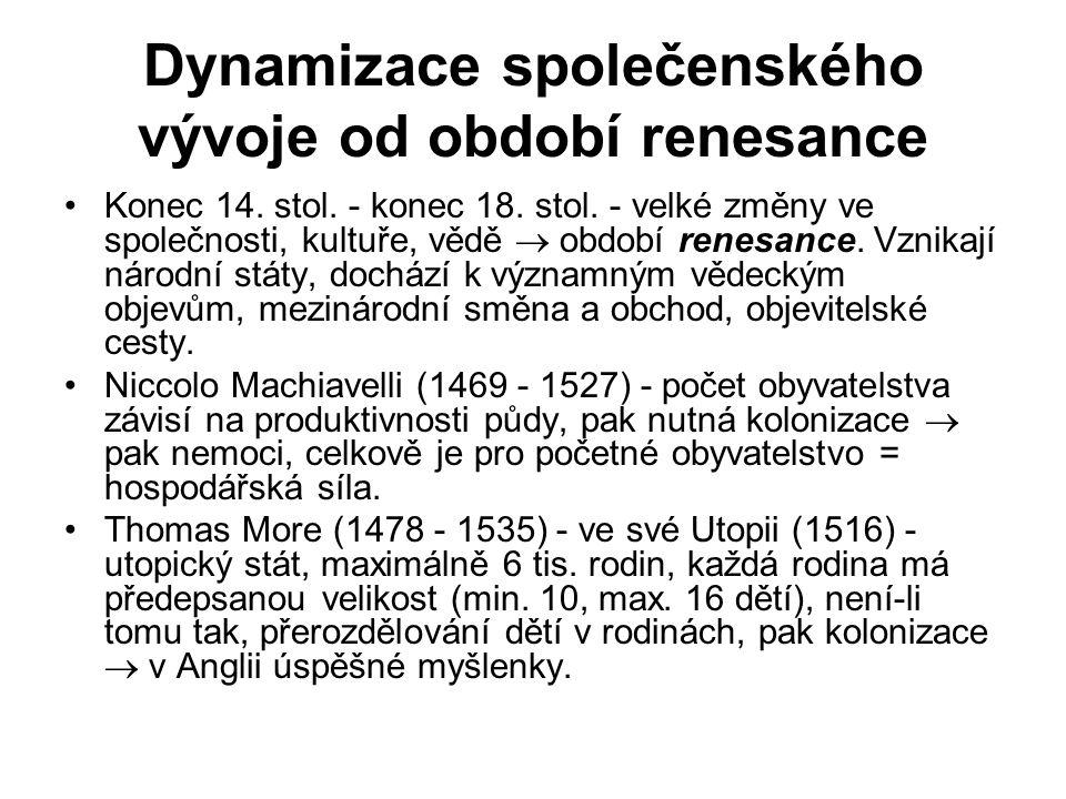 Dynamizace společenského vývoje od období renesance Konec 14. stol. - konec 18. stol. - velké změny ve společnosti, kultuře, vědě  období renesance.