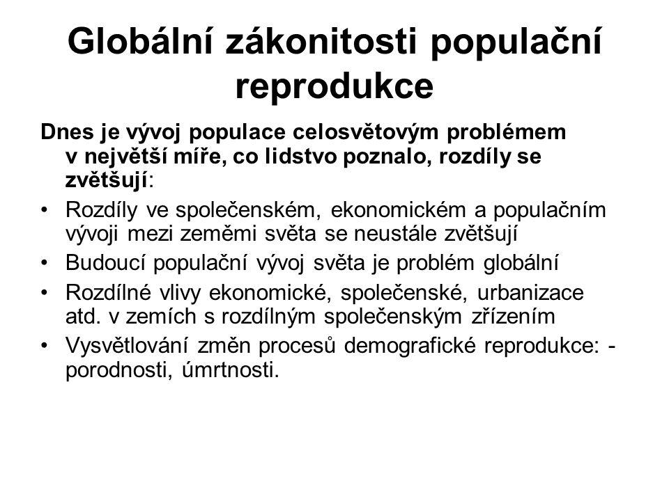 Globální zákonitosti populační reprodukce Dnes je vývoj populace celosvětovým problémem v největší míře, co lidstvo poznalo, rozdíly se zvětšují: Rozd