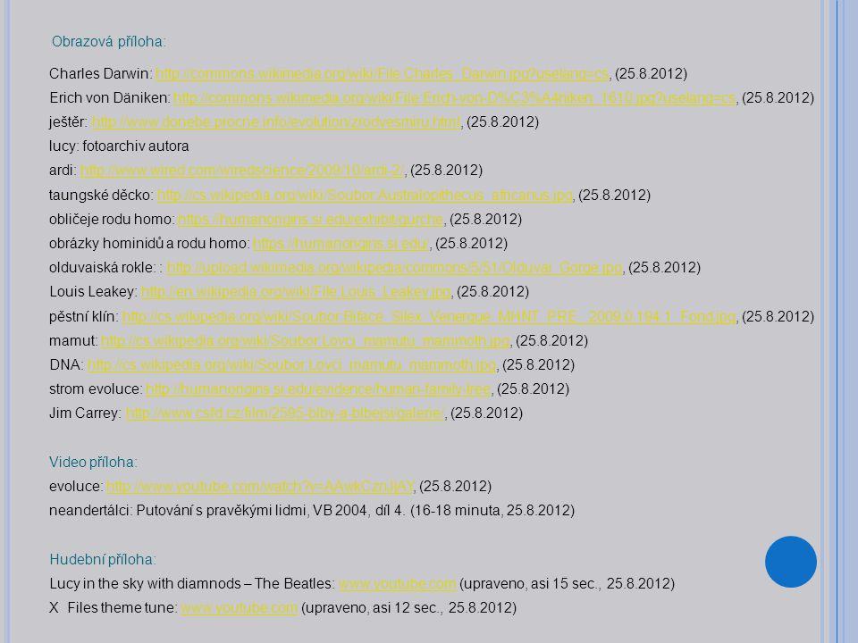Obrazová příloha: Charles Darwin: http://commons.wikimedia.org/wiki/File:Charles_Darwin.jpg?uselang=cs, (25.8.2012)http://commons.wikimedia.org/wiki/File:Charles_Darwin.jpg?uselang=cs Erich von Däniken: http://commons.wikimedia.org/wiki/File:Erich-von-D%C3%A4niken_1610.jpg?uselang=cs, (25.8.2012)http://commons.wikimedia.org/wiki/File:Erich-von-D%C3%A4niken_1610.jpg?uselang=cs ještěr: http://www.donebe.procne.info/evolution/zrodvesmiru.html, (25.8.2012)http://www.donebe.procne.info/evolution/zrodvesmiru.html lucy: fotoarchiv autora ardi: http://www.wired.com/wiredscience/2009/10/ardi-2/, (25.8.2012)http://www.wired.com/wiredscience/2009/10/ardi-2/ taungské děcko: http://cs.wikipedia.org/wiki/Soubor:Australopithecus_africanus.jpg, (25.8.2012)http://cs.wikipedia.org/wiki/Soubor:Australopithecus_africanus.jpg obličeje rodu homo: https://humanorigins.si.edu/exhibit/gurche, (25.8.2012)https://humanorigins.si.edu/exhibit/gurche obrázky hominidů a rodu homo: https://humanorigins.si.edu/, (25.8.2012)https://humanorigins.si.edu/ olduvaiská rokle: : http://upload.wikimedia.org/wikipedia/commons/5/51/Olduvai_Gorge.jpg, (25.8.2012)http://upload.wikimedia.org/wikipedia/commons/5/51/Olduvai_Gorge.jpg Louis Leakey: http://en.wikipedia.org/wiki/File:Louis_Leakey.jpg, (25.8.2012)http://en.wikipedia.org/wiki/File:Louis_Leakey.jpg pěstní klín: http://cs.wikipedia.org/wiki/Soubor:Biface_Silex_Venerque_MHNT_PRE_.2009.0.194.1_Fond.jpg, (25.8.2012)http://cs.wikipedia.org/wiki/Soubor:Biface_Silex_Venerque_MHNT_PRE_.2009.0.194.1_Fond.jpg mamut: http://cs.wikipedia.org/wiki/Soubor:Lovci_mamutu_mammoth.jpg, (25.8.2012)http://cs.wikipedia.org/wiki/Soubor:Lovci_mamutu_mammoth.jpg DNA: http://cs.wikipedia.org/wiki/Soubor:Lovci_mamutu_mammoth.jpg, (25.8.2012)http://cs.wikipedia.org/wiki/Soubor:Lovci_mamutu_mammoth.jpg strom evoluce: http://humanorigins.si.edu/evidence/human-family-tree, (25.8.2012)http://humanorigins.si.edu/evidence/human-family-tree Jim Carrey: http://www.csfd.cz/film/2595-blby-a
