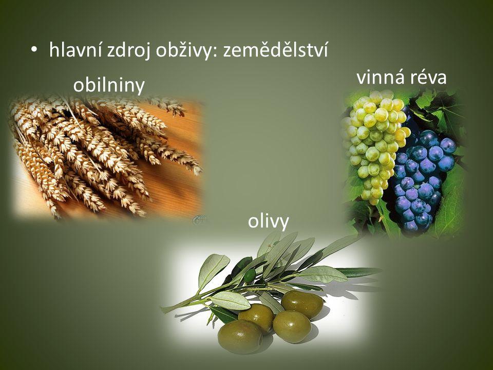 hlavní zdroj obživy: zemědělství obilniny vinná réva olivy