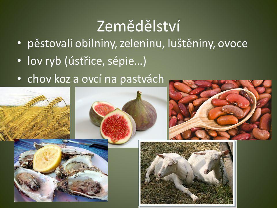 Zemědělství pěstovali obilniny, zeleninu, luštěniny, ovoce lov ryb (ústřice, sépie…) chov koz a ovcí na pastvách