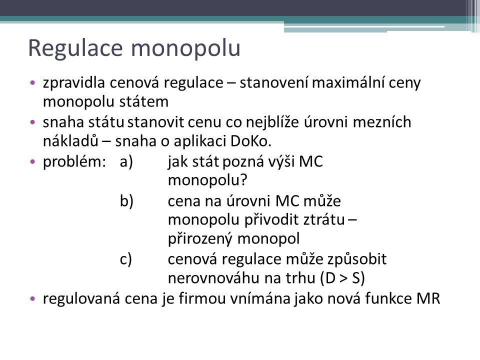 Posouzení alokační efektivnosti P CZK/Q D MR MC Q* P* Q DWL P CZK/Q D MR MC Q* P* Q alokačně neefektivní situace alokačně efektivní situace P CZK/Q D