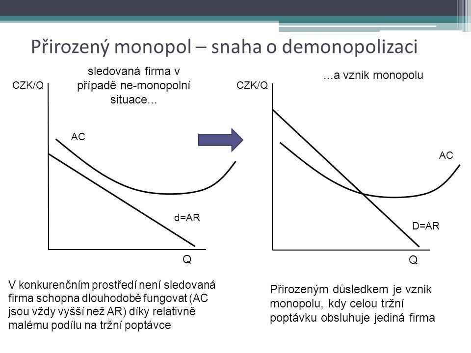 """Přirozený monopol nezaměňovat s pojmem """"přírodní monopol"""" případná snaha o demonopolizaci odvětví by stejně vedla ke vzniku monopolu, protože: každá z"""