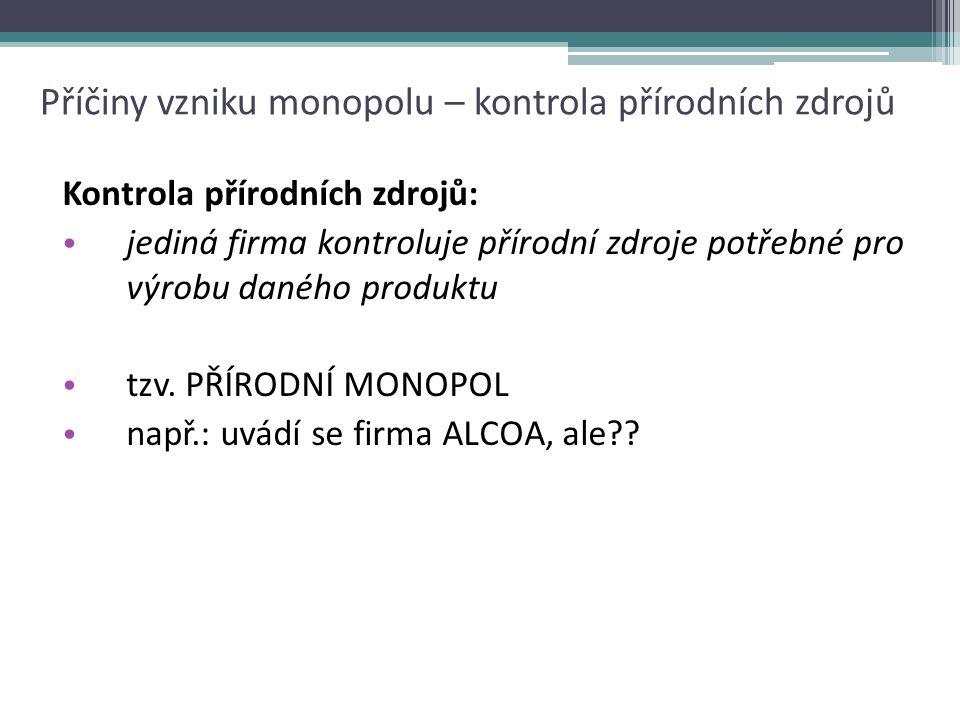 Přirozený monopol – snaha o demonopolizaci d=AR AC Q CZK/Q D=AR AC Q sledovaná firma v případě ne-monopolní situace... CZK/Q...a vznik monopolu V konk