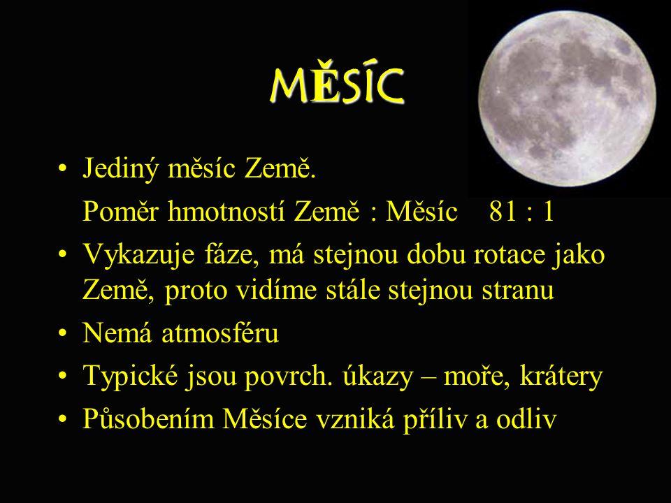 MĚSÍC Jediný měsíc Země. Poměr hmotností Země : Měsíc 81 : 1 Vykazuje fáze, má stejnou dobu rotace jako Země, proto vidíme stále stejnou stranu Nemá a