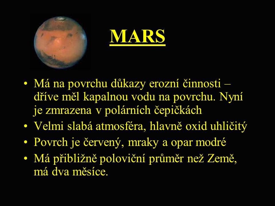 MARS Má na povrchu důkazy erozní činnosti – dříve měl kapalnou vodu na povrchu. Nyní je zmrazena v polárních čepičkách Velmi slabá atmosféra, hlavně o