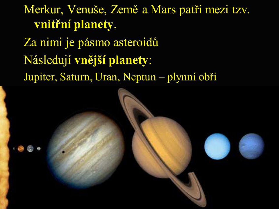 ; Merkur, Venuše, Země a Mars patří mezi tzv. vnitřní planety. Za nimi je pásmo asteroidů Následují vnější planety: Jupiter, Saturn, Uran, Neptun – pl