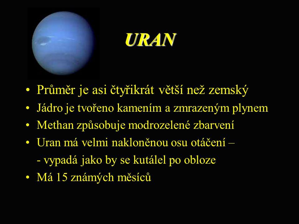 URAN Průměr je asi čtyřikrát větší než zemský Jádro je tvořeno kamením a zmrazeným plynem Methan způsobuje modrozelené zbarvení Uran má velmi nakloněn