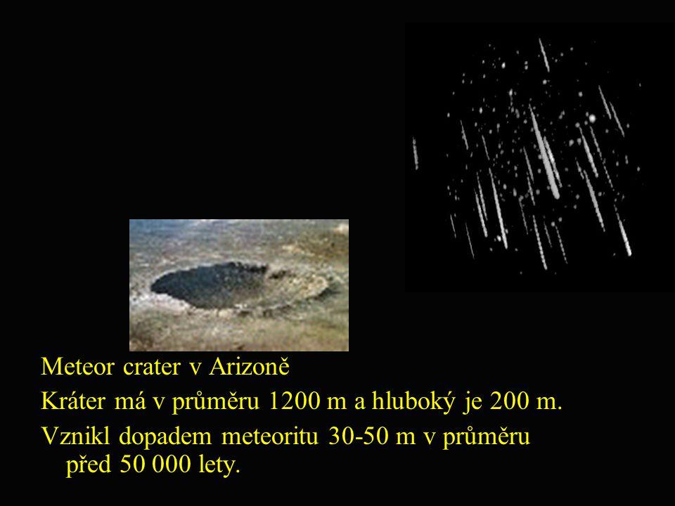 Meteor crater v Arizoně Kráter má v průměru 1200 m a hluboký je 200 m. Vznikl dopadem meteoritu 30-50 m v průměru před 50 000 lety.