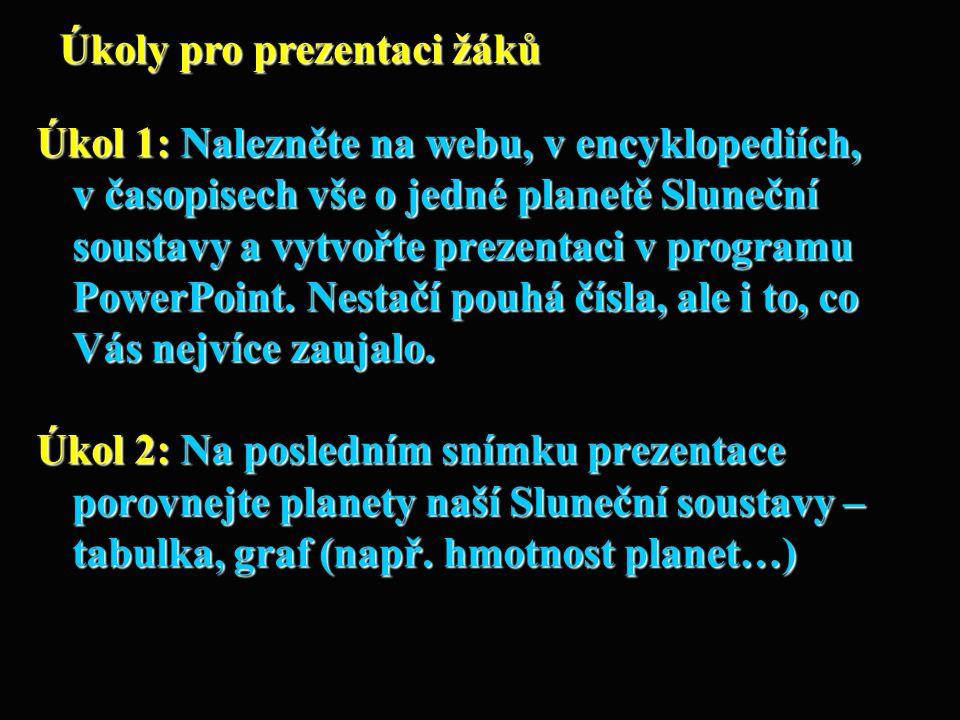 Úkol 1: Nalezněte na webu, v encyklopediích, v časopisech vše o jedné planetě Sluneční soustavy a vytvořte prezentaci v programu PowerPoint. Nestačí p