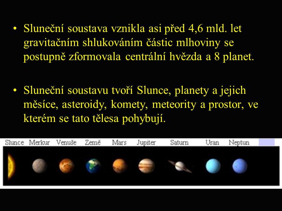 Sluneční soustava vznikla asi před 4,6 mld. let gravitačním shlukováním částic mlhoviny se postupně zformovala centrální hvězda a 8 planet. Sluneční s