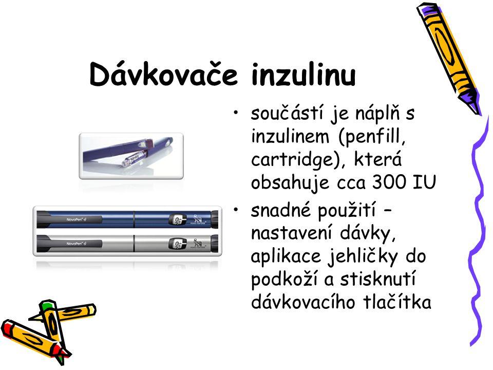 Dávkovače inzulinu součástí je náplň s inzulinem (penfill, cartridge), která obsahuje cca 300 IU snadné použití – nastavení dávky, aplikace jehličky d