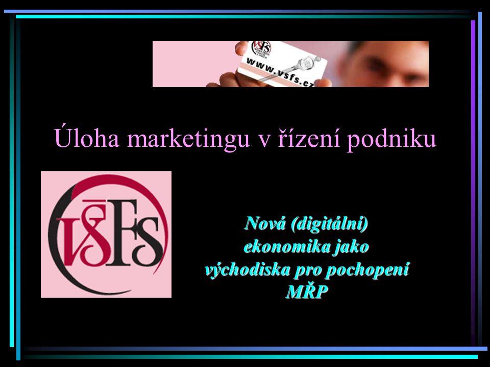 Úloha marketingu v řízení podniku Nová (digitální) ekonomika jako východiska pro pochopení MŘP