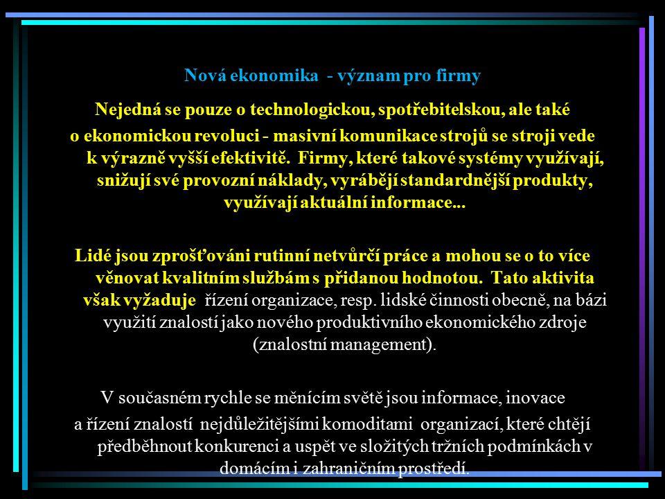 Nová ekonomika - význam pro firmy Nejedná se pouze o technologickou, spotřebitelskou, ale také o ekonomickou revoluci - masivní komunikace strojů se s