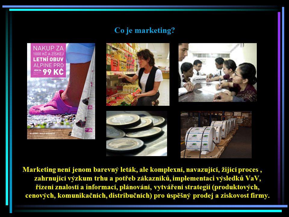 Co je marketing? Marketing není jenom barevný leták, ale komplexní, navazující, žijící proces, zahrnující výzkum trhu a potřeb zákazníků, implementaci